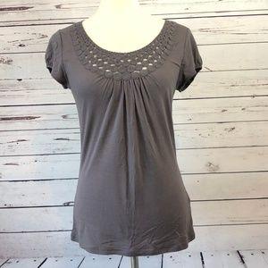 Boden 4 Short Sleeve Top Crochet Shirt Gray Lacey